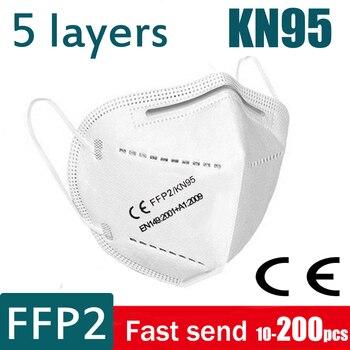 10-200 ffp2 mask Face mask KN95 Mouth Maske Safety Anti bacterial protect DUST Masks 95% filter FFP2mask KN95mask Mascarillas