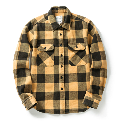 100% cotton heavy weight retro vintage classic red black spring autumn winter long sleeve plaid shirt for men women 14