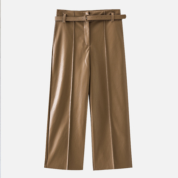 Autumn Faux PU Leather Pants Women With Belt High Waisted Wide Leg Anke-length Women's Trousers 2020 Spring NEW Fashion Clothes 5