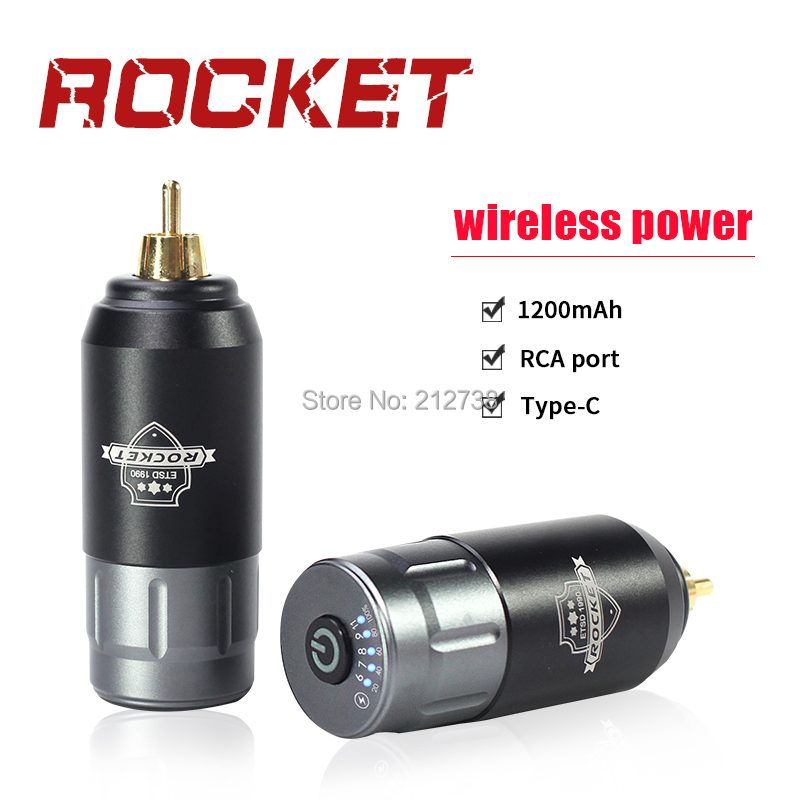 Newest Tattoo Mini Wireless Power Grey Black  For Tattoo Rotary Machine Pen RCA Connection Tattoo Power Supply Free Shipping