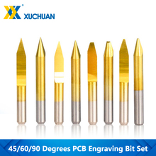 Engraving-Bit-Set End-Mill Milling-Cutter Coating Carbide Bottom CNC Flat PCB 10pcs 45/60/90-degree
