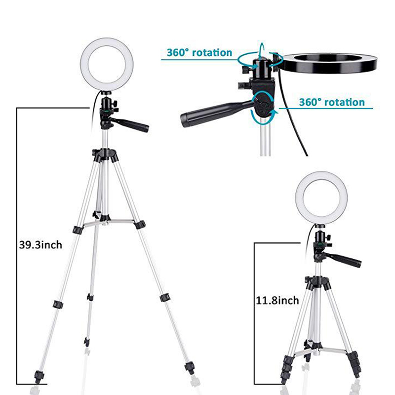 LED Ring Light Tripod Camera Photography Dimmable Selfie Video Light with Phone Holder JHP-Best image