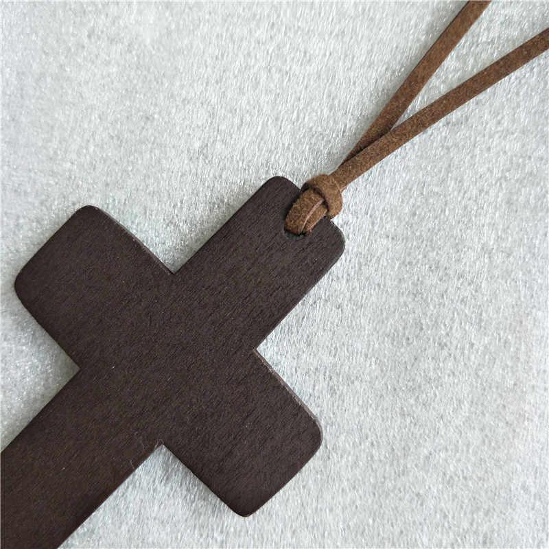 Vintage naturel en bois croix Long pendentif colliers pour femmes en cuir colliers Style coréen mode Maxi chandail colliers