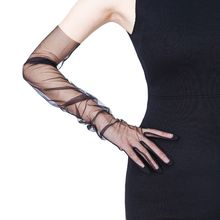 Womens Ultra Thin Tulle Long Wedding Gloves Solid Color Sheer Transparent Sunscreen Vintage 1920s Opera Mittens