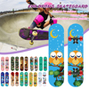 60cm Four-Wheeled Skateboard Double Deck Complete Skateboard Fashion Patterns for Beginners and Kids Aged 3-6 Years