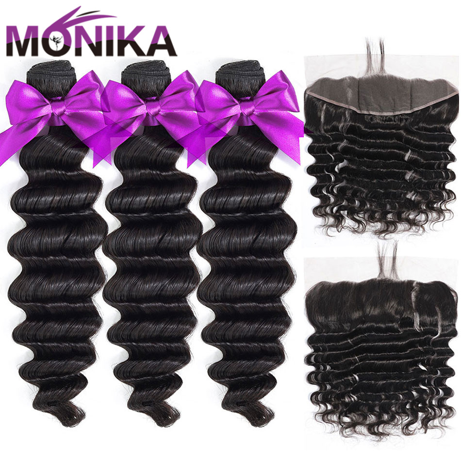 Monika Frontal With Bundles Peruvian Loose Deep Wave Bundles With Frontal Closure Non-Remy Human Hair 3/4 Bundles And Frontal