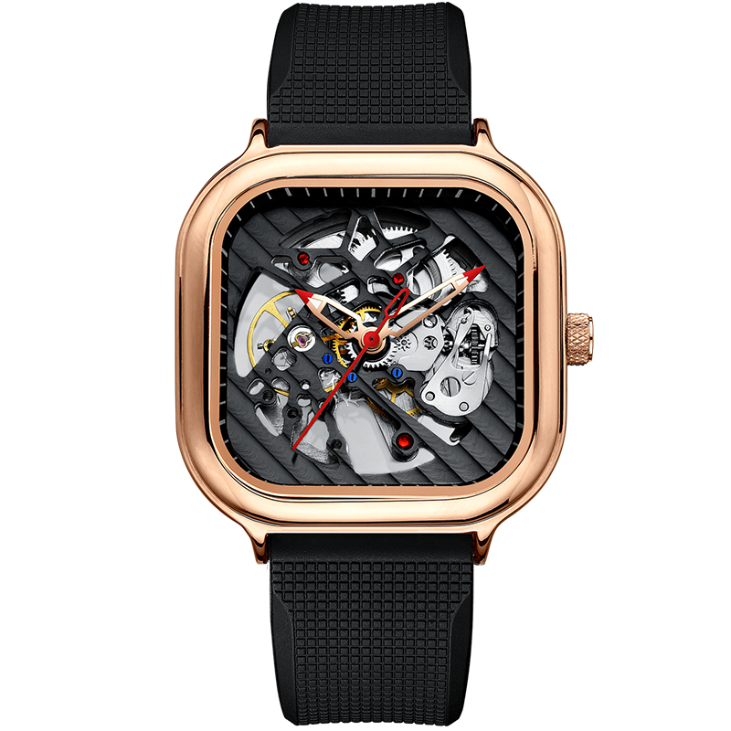 2020 new men's automatic watch top brand luxury silicone strap hollow Swiss square top ten watches 10