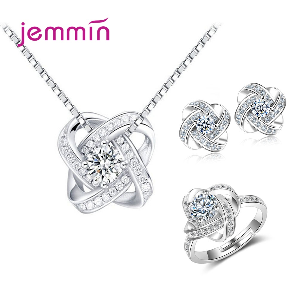 Atmospheric Women Bridal Jewelry Sets 925 Sterling Silver Shining Clear Cubic Zirconia Paved Flower Charm Earrings Necklace Ring