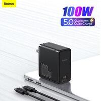 Baseus GaN2 cargador rápido 100W tipo C portátiles Tablet cargador QC 5 QC 4,0 PD 3,0 GaN cargador para Apple Pro Lenovo Dell Huawei