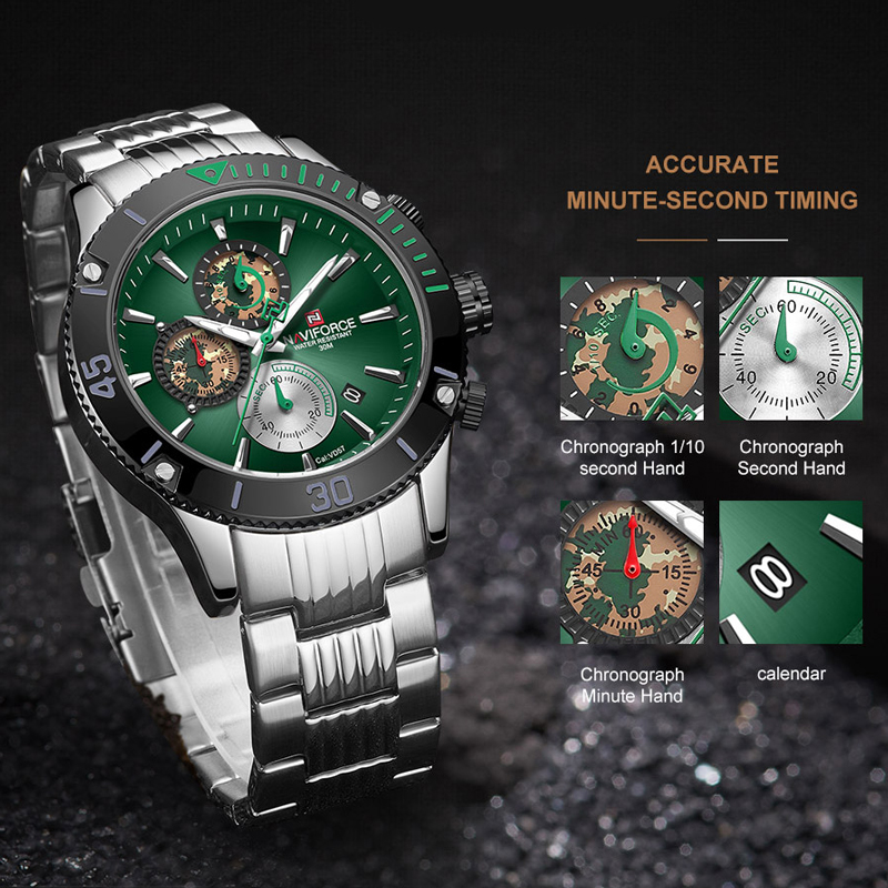 NAVIFORCE мужские часы Топ бренд большой циферблат спортивные часы мужские Роскошные Кварцевые наручные часы хронограф мужской Relogio Masculino - 4