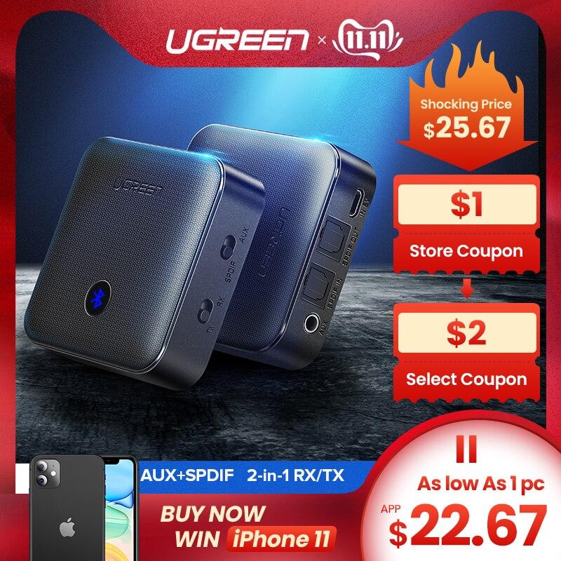 Ugreen Bluetooth 5.0 récepteur émetteur 4.2 aptX HD pour TV casque optique 3.5mm SPDIF Bluetooth AUX Audio récepteur adaptateur