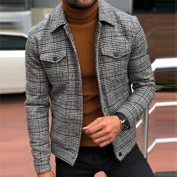 New Spring Men's Slim  Jacket Lapel Fashion Long Sleeve Plaid Coat Man Jacket  Leisure Coat 1