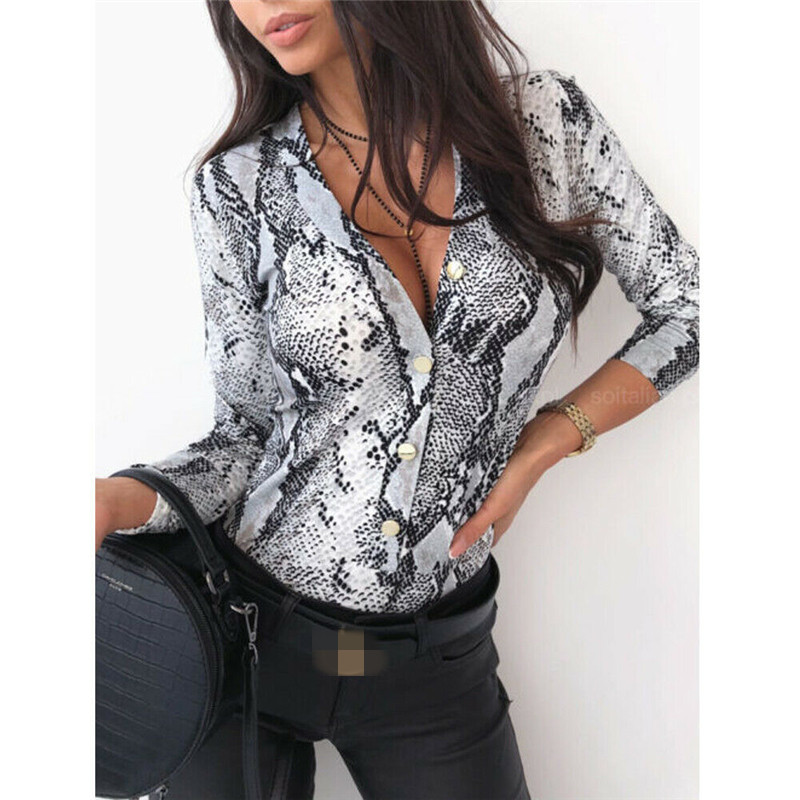 Women Long Sleeve Bodysuit Ladies Button Bodycon Leotard Romper Top Vintage Animal Print Overalls Fashion Clothes One Piece