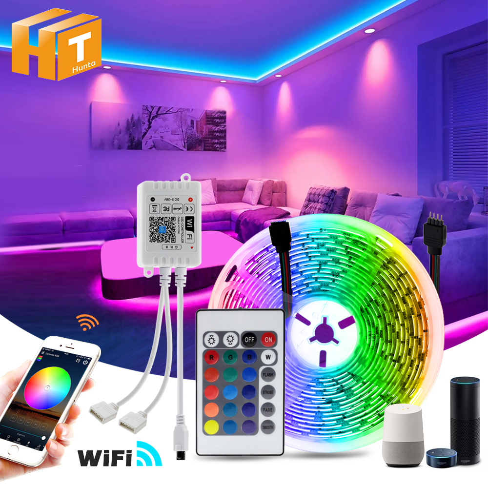 WiFi LED Strip Light 5m 10m 15m 20m 5050 RGB Changeable DC12V Flexible LED Light WiFi Controller   Adapter Plug