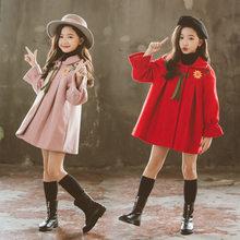 Fashion Girls Floral Pattern Cotton Winter Coat Teeanger Vintage Casual Sunflower Wool Blends Dress Outerwear Kids Overcoat