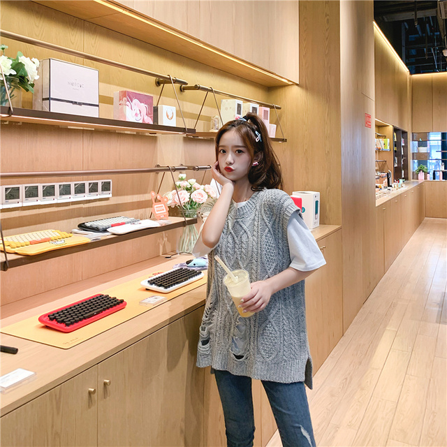 O-neck Long Knitted Women's Sweater Sleeveless Jacket Winter Warm Female Vest Korean Ruffle  For Women Fashion Loose Waistcoat 4