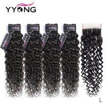 Yyong 3/4 pacotes de onda água com fecho cabelo brasileiro tecer pacotes com fechamento cabelo humano com fechamento remy médio relação