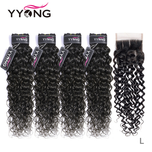 Yyong 3/4 Water Wave Bundles With Closure Brazilian Hair Weave Bundles With Closure Human Hair With Closure Remy Medium Ratio