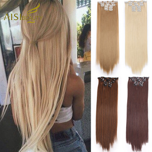 AISIBEAUTY 16 Clips/Set Hairpin Hair Extensions Synthetic Long Straight Clips in Hair Extensions for Women Omber Blonde Brown
