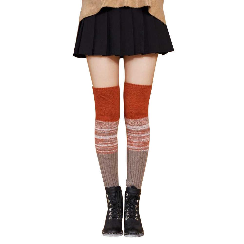 Kadınlar diz üzerinde çorap moda kadın seksi çorap sıcak uzun çizme örgü uyluk yüksek gri haki mavi siyah