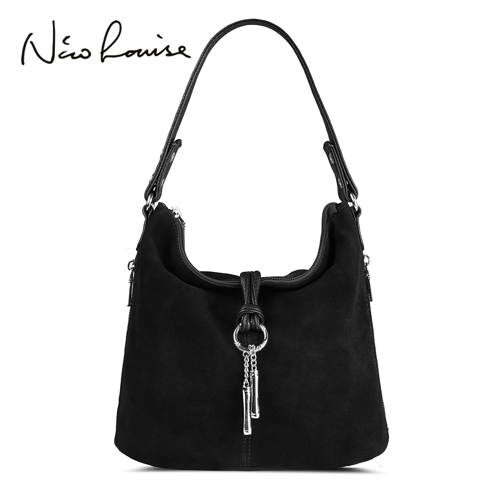 Fashion Women Split Leather Shoulder Bag Female Suede Casual Crossbody Handbag Casual Lady Messenger Hobo Top-handle Bags