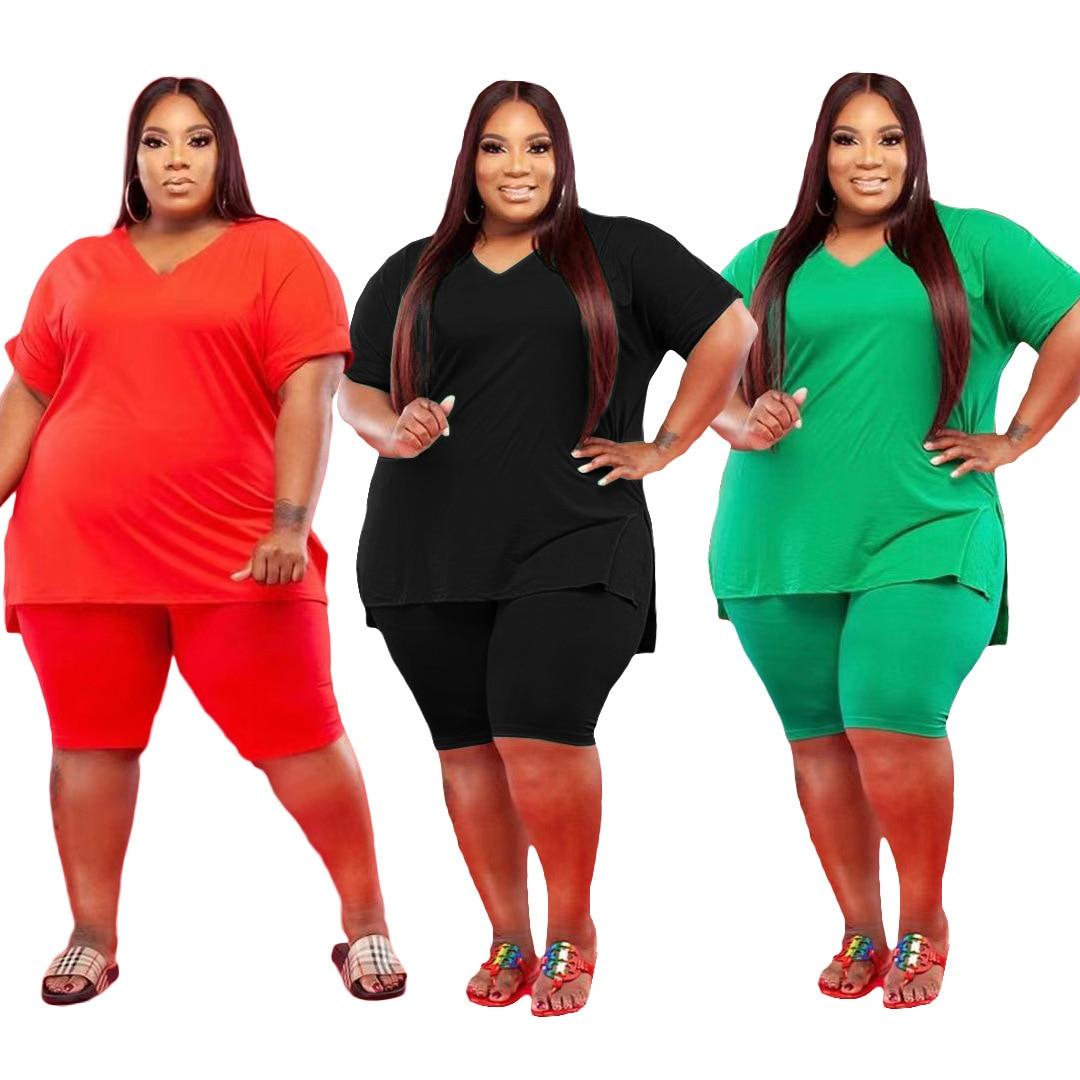 Shorts Set Women Plus Size 3xl 4xl 5xl Large Size Oversized Two Piece Set Casual Ladies Summer 2 Piece Top and Shorts Set 2021