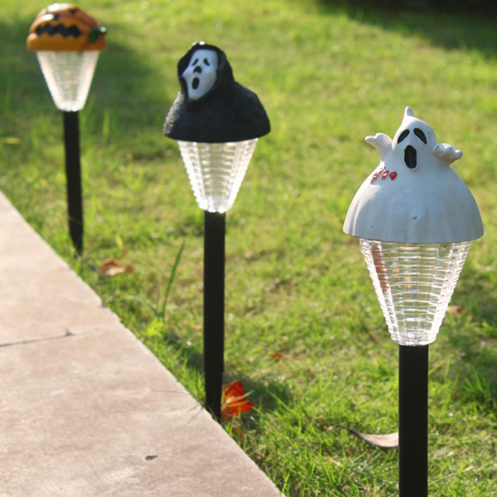 New 1PC Pumpkin Ghost Halloween Solar Light Control LED Garden Lawn Yard Decor Lamp