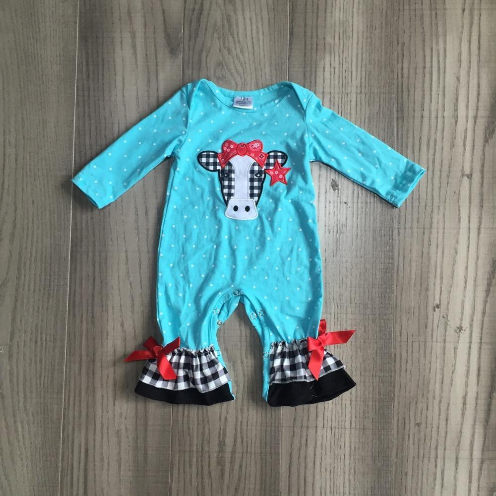Girlymax outono/inverno saltar terno azul vaca xadrez gingham fazenda quintal bebê meninas boutique roupas infantil algodão tutu macacão da criança