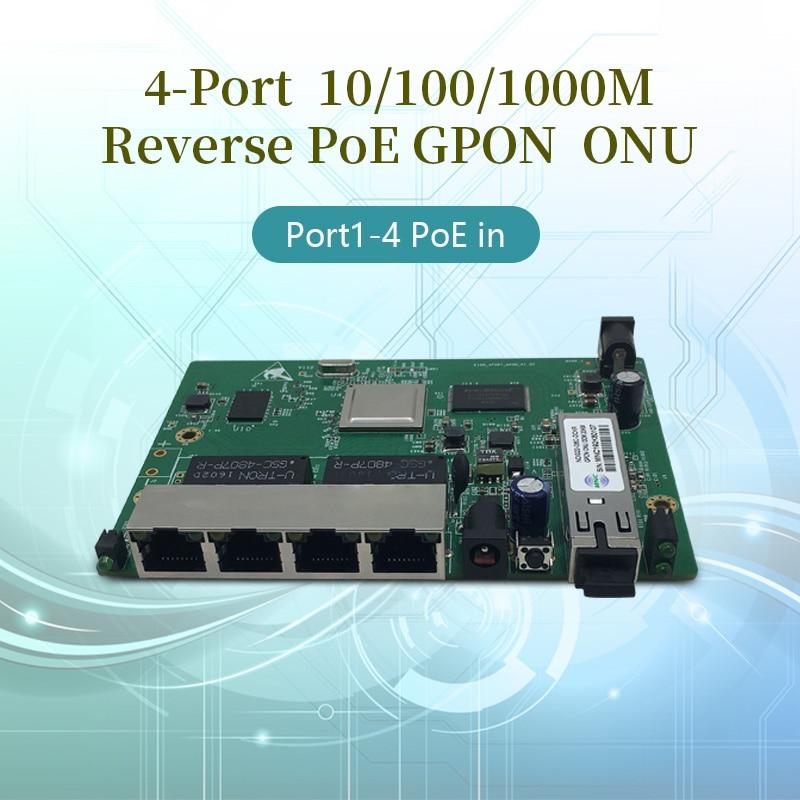 Free Shipping FTTB 4-Port Gigabit Reverse PoE Gpon Onu  EPON ONU Sfp  REverse POE  GPON ONT