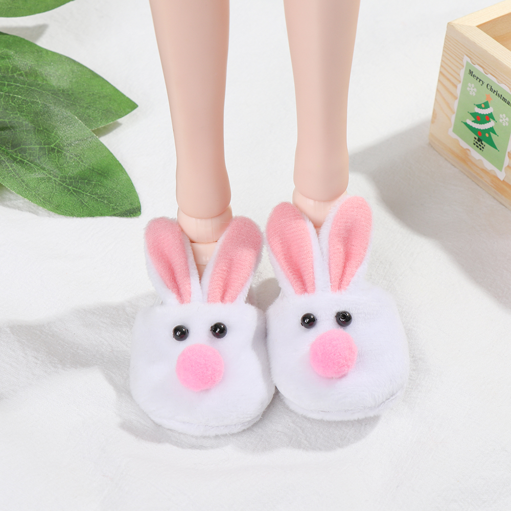 1pair Women Home Slippers Cute Rabbit Thickening Warm Plush Indoor Shoes