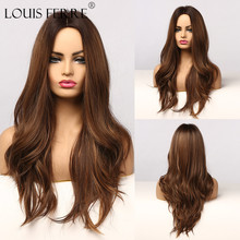 Brown Wigs Water-Wave Afro Heat-Resisitant Synthetic-Wig-Ombre Cosplay Louis Ferre Dark-Root