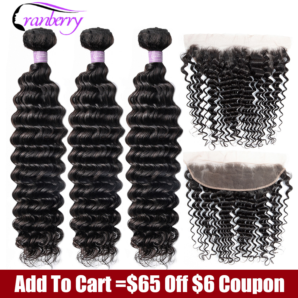 CRANBERRY Hair Deep Wave Bundles With Frontal Ear To Ear Lace Frontal With Bundles Peruvian Human Hair Bundles With Closure