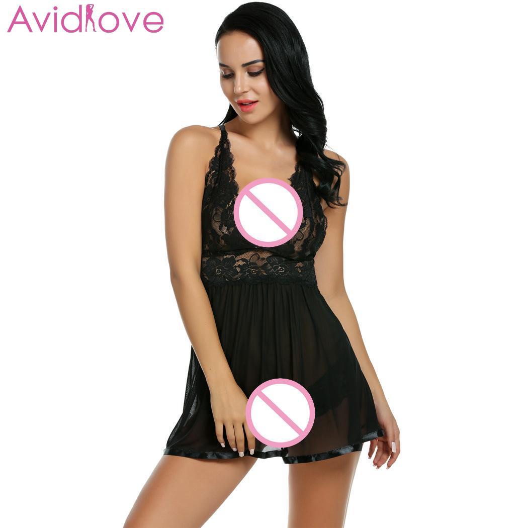 Women Sexy Lingerie Dress Babydoll V Neck Strap Hollow Lace Patchwork Sleepwear Nightwear with Panty Babydolls & Chemises  - AliExpress