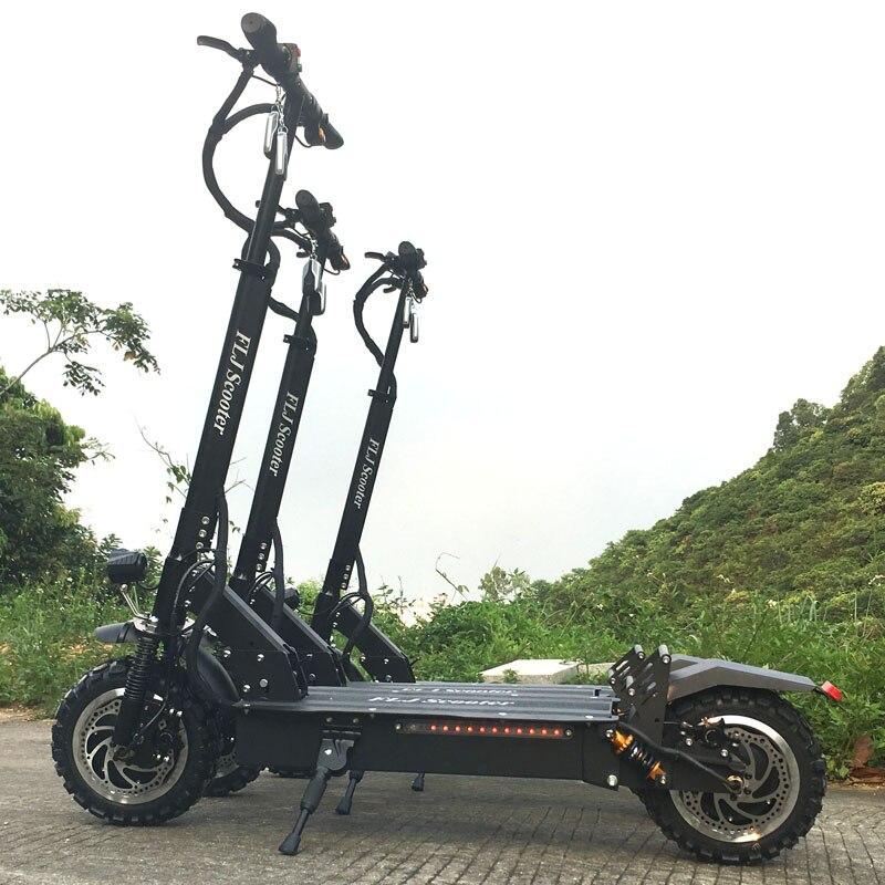 FLJ potężny skuter elektryczny 60 V/3200 W skuter elektryczny z 11 cali na drodze/off road big fat wheel kick bike