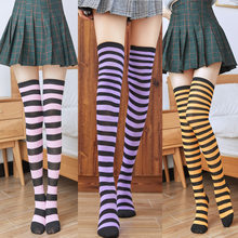 New Campus Sexy Stockings Over The Knee Socks Japanese Socks Striped Thigh High Stockings Colorful Fashionable Women's Socks