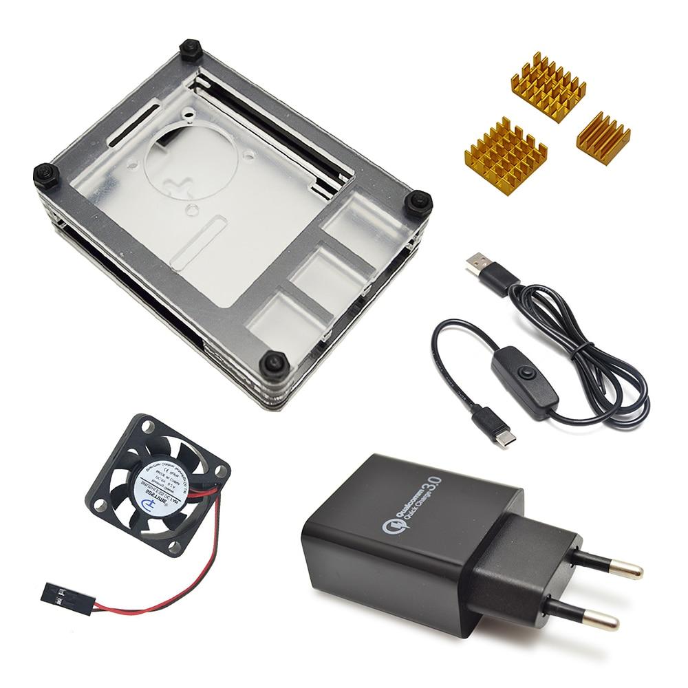 Novo caso de 9 camadas projetado para raspberry pi 4 modelo b com dissipador de calor e linha de energia tipo-c interface adaptador de carregador da ue