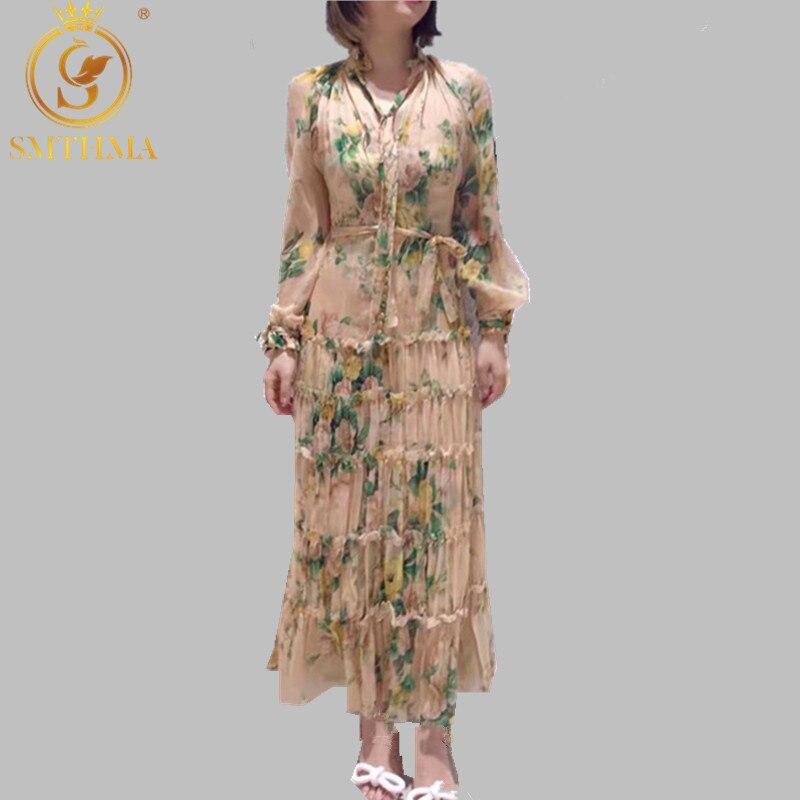 SMTHMA automne et hiver volants femmes robe Sexy col en v unique imprimé flore plissée en mousseline de soie longue robe