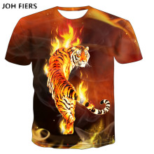 JOH FIERS  T shirt men 3D Animal 100% Cotton Casual T-shirt Men clothes Pattern Tiger Wolf 2019 Hot Hip Hop