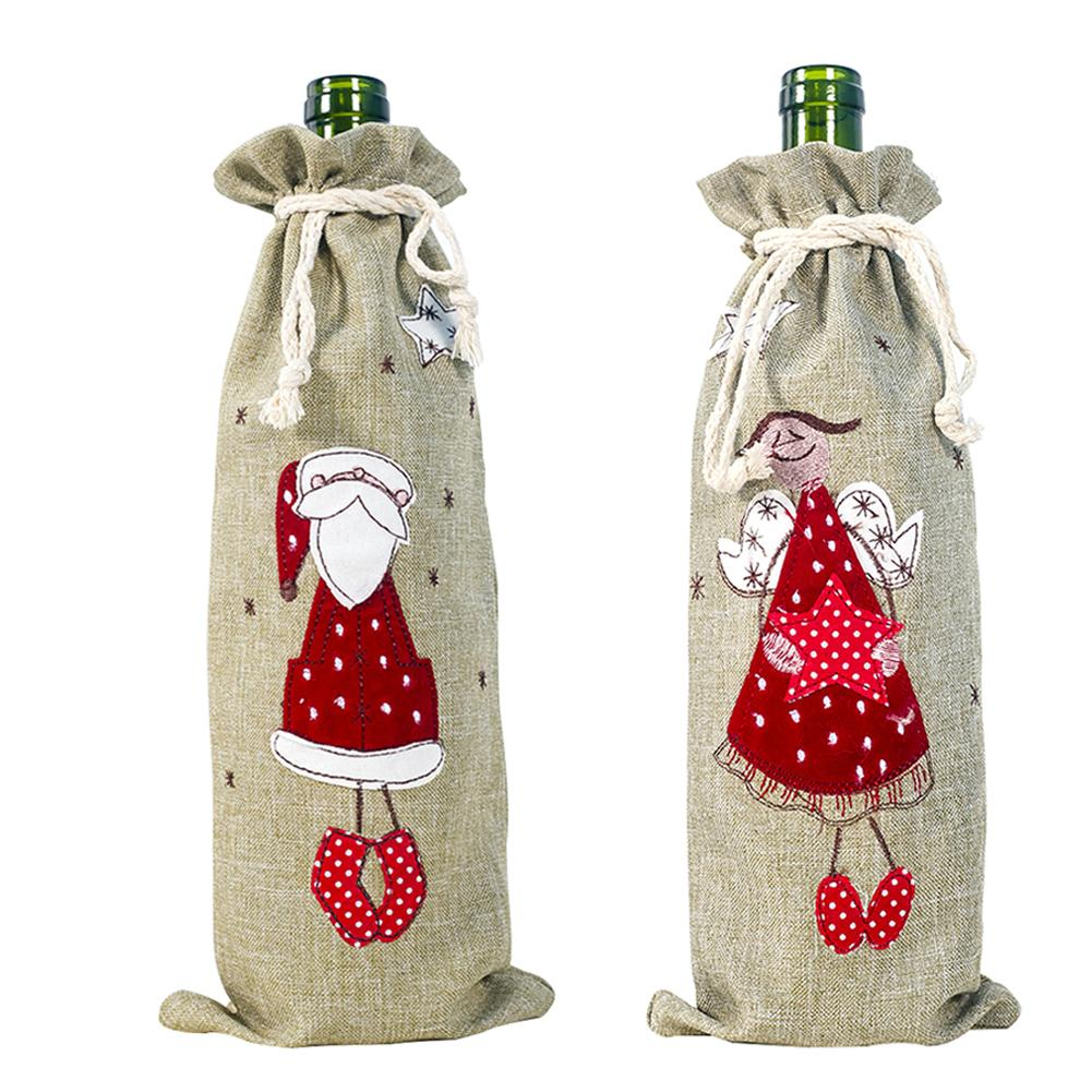Christmas Decorations For Home Burlap Embroidery Angel Old Man Wine Bottle Cover Set Christmas Gift Bag Santa Sack Xmas Decors