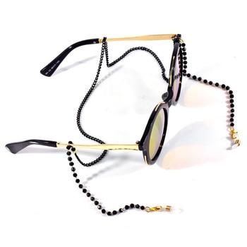 цена на 1pc Chic Women Men Glasses Neck Strap Chain Acrylic Crystal Black Beads Eyeglasses Necklace Metal Sunglasses Cord Lanyard