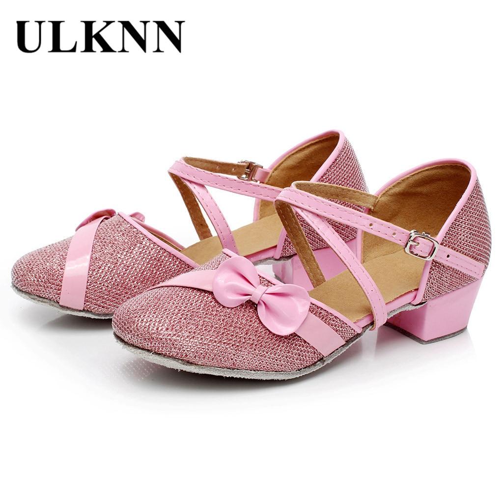 ULKNN Toddler Baby Kids Girls Shining Bowknot Bandage Party Dancing Ballroom Tango Latin Single Sandals Anti-slip Princess Shoes