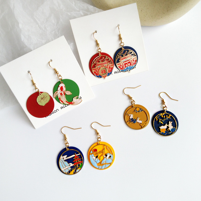 Japanese Lucky Koi Fish Clip On Earrings Chinese Style painting Rabbit Round Geometry Clip earrings Without Piercing for women
