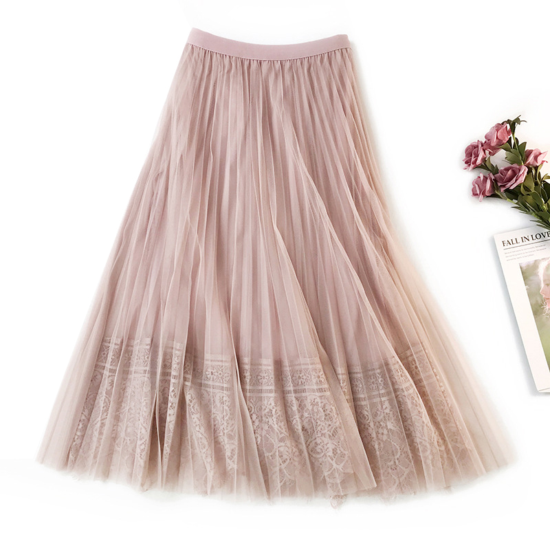 Elegant Women Skirts 2020 New Spring High Waist Slimming Long Pleated Skirt Floral Lace Patchwork Midi Skirt Saias Faldas Jupe