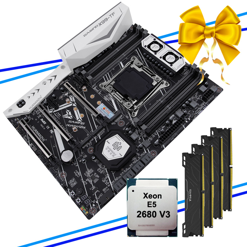 HUANANZHI X99 motherboard with CPU 2680 V3 RAM 64G(4*16G) DDR4 X99-TF LGA2011-3 motherboard with dual M.2 slot M.2 WIFI slot