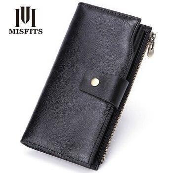 Large Capacity Cell Phone Pocket Hasp Card Holder Handmade Vintage 2020 Brand 100% Top Genuine Cowhide Leather Wallet