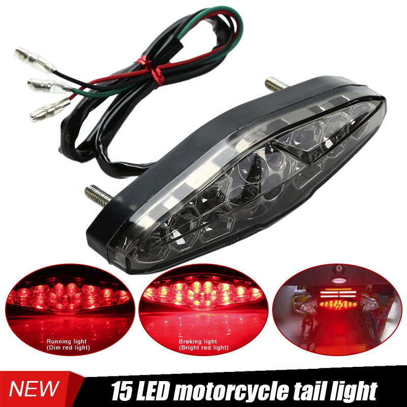 New Universal Brake Stop Running Tail Light 15 LED For Motorcycle ATV Dirt Bike License Plate Light Moto LED Moto Accessories