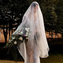 Pearl Beaded White Ivory Short Bridal Veil Cathedral Wedding Veil for Bride Bridsmaid one Layer Wedding Veil Bridal without Comb