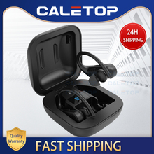 Caletop TWS CVC8.0 الحد من الضوضاء الرياضة سماعات لاسلكية IPX5 مقاوم للماء سماعات بلوتوث مع الأذن هوك تشغيل سماعات