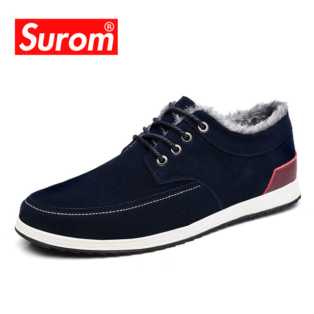 SUROM Mens Leather Casual Shoes Moccasins Men Loafers Luxury Brand Winter New Fashion Sneakers Male Boat Shoes Suede Krasovki