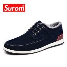 SUROM zapatos informales de cuero para hombre, mocasines de marca de lujo, a la moda Zapatillas de deporte, náuticos de ante